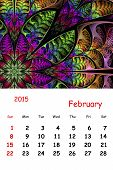 2015. February. Calendar With Beautiful Fractal Pattern.
