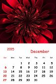 2015. December. Calendar With Beautiful Fractal Pattern.