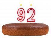 Birthday Cake Candles Number 92 Isolated