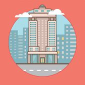 Vector Flat Illustration Of City Skyscraper