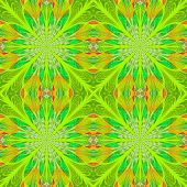 Symmetrical Pattern In Stained-glass Window Style. Green Palette. Computer Generated Graphics.