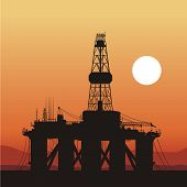 silhouette of an oil drilling rig. Coast of Brazil