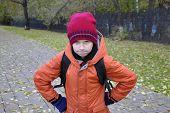 The Teenage Boy's Portrait In Autumn Park.