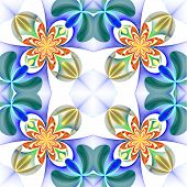 Symmetrical Pattern Of The Flower Petals. Blue And Orange Palette. Computer Generated Graphics.
