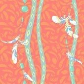 Dreamcatcher feathers seamless pattern