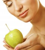 young lady with green apple