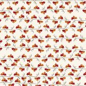 Autumn red leaf vine repeat pattern Background.