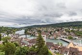 View Of Schaffhausen Old Town And The Rhine River On A Cloudy Day