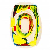 Colorful Handmade Of White Clay Letter O