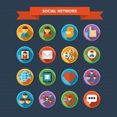Set of social network and media icons
