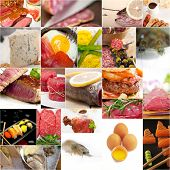 picture of high calorie foods  - high protein food collection collage nested on white frame - JPG