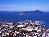 picture of alcatraz  - Pier 39 and Alcatraz Island seen from Coit Tower San Francisco Califrornia USA