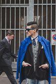 People Outside Armani Fashion Show Building For Milan Men's Fashion Week 2015