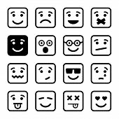 Square Smiley faces set. Vector
