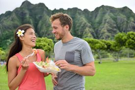 picture of food truck  - Hawaii food travel couple eating garlic shrimps on Oahu - JPG