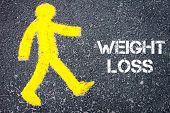 stock photo of pedestrians  - Yellow pedestrian figure on the road walking towards Weight Loss - JPG
