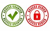 picture of denied  - Access granted denied stamps isolated on white background - JPG