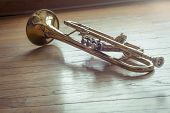 stock photo of forlorn  - Old rusty trumpet lays on wooden floor in the morning light