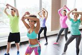 fitness, sport, dance and lifestyle concept - group of smiling people with coach dancing zumba in gy poster