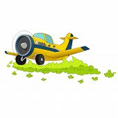 pic of pesticide  - vector illustration of cartoon aircraft spraying pesticide - JPG