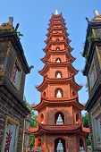 image of trans  - Historic Tran Quoc Pagoda in West Lake Hanoi Vietnam in springtime. ** Note: Soft Focus at 100%, best at smaller sizes - JPG