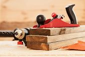 pic of carpenter  - Woodworking tools on a carpenter - JPG