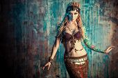 image of dancing  - Art portrait of a beautiful traditional female dancer - JPG