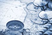 picture of decoupage  - Compass and glasses on vintage map - JPG