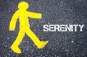 stock photo of pedestrians  - Yellow pedestrian figure on the road walking towards SERENITY - JPG