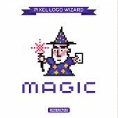 picture of wizard  - Logo pixel art wizard magician magic - JPG