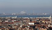picture of polluted  - smokestacks and factories polluting with smoke near Venice in Italy - JPG