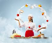pic of juggler  - Juggler chef play with some ingredients and kitchen tools - JPG