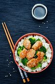 picture of stir fry  - teriyaki chicken and broccoli stir fry with rice - JPG