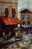 image of french culture  - French  outdoor european cafe painting - JPG