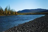 stock photo of taimyr  - The river and its surroundings at the end of the summer. The Putorana Plateau Russia Taimyr Peninsula.