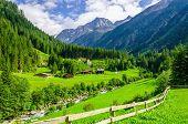 Постер, плакат: Green meadows alpine cottages and mountain peaks