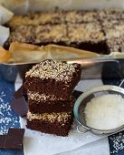 pic of brownie  - Chocolate brownie cake with coconut - JPG