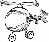 picture of helicopters  - Doodle Sketch Helicopter Vector Illustration Art  - JPG