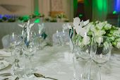 picture of banquet  - Elegant table set up for a wedding banquet - JPG
