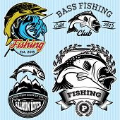 stock photo of bass fish  - set of vintage patterns with emblems for fishing with pike salmon bass - JPG