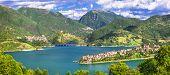 image of tora  - impressive views of Turano lake with village Colle di Tora - JPG