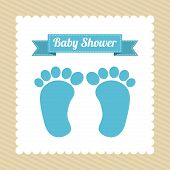 pic of baby feet  - Baby shower card with baby foot prints - JPG