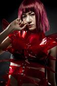 pic of woman dragon  - robot with red armor - JPG