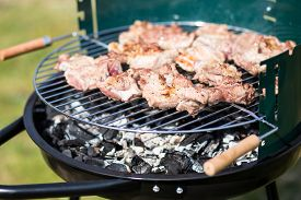 picture of grils  - Pork Meat Chop Preparing On Barbecue Gril Outdoors - JPG