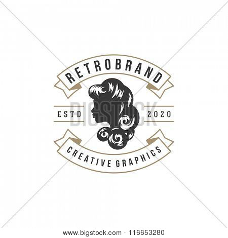 poster of Beauty Salon Logo Vector Template. For Label, Badge, Sign or Advertising. Barber shop Logo, Beauty W