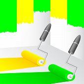 Tinta amarela e verde.
