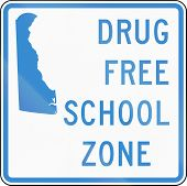 Road Sign Used In The Us State Of Delaware - Drug-free School Zone Sign poster