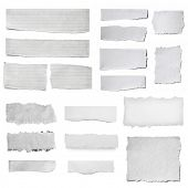 Paper tears collection, isolated on white.  Torn pieces, isolated on white. poster