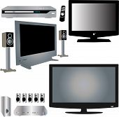 LCD TV, dvd player, audio and control - vecto