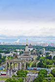 The top view on VDNH (All-Russia Exhibition Centre) Moscow Russia